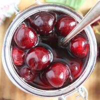 wine cherries preserved in a small jar