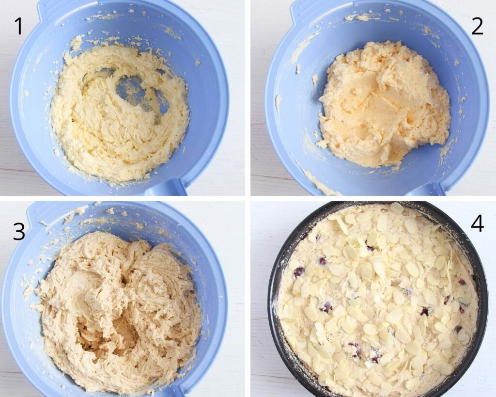 mixing batter in a blue bowl and cake batter in a black tin