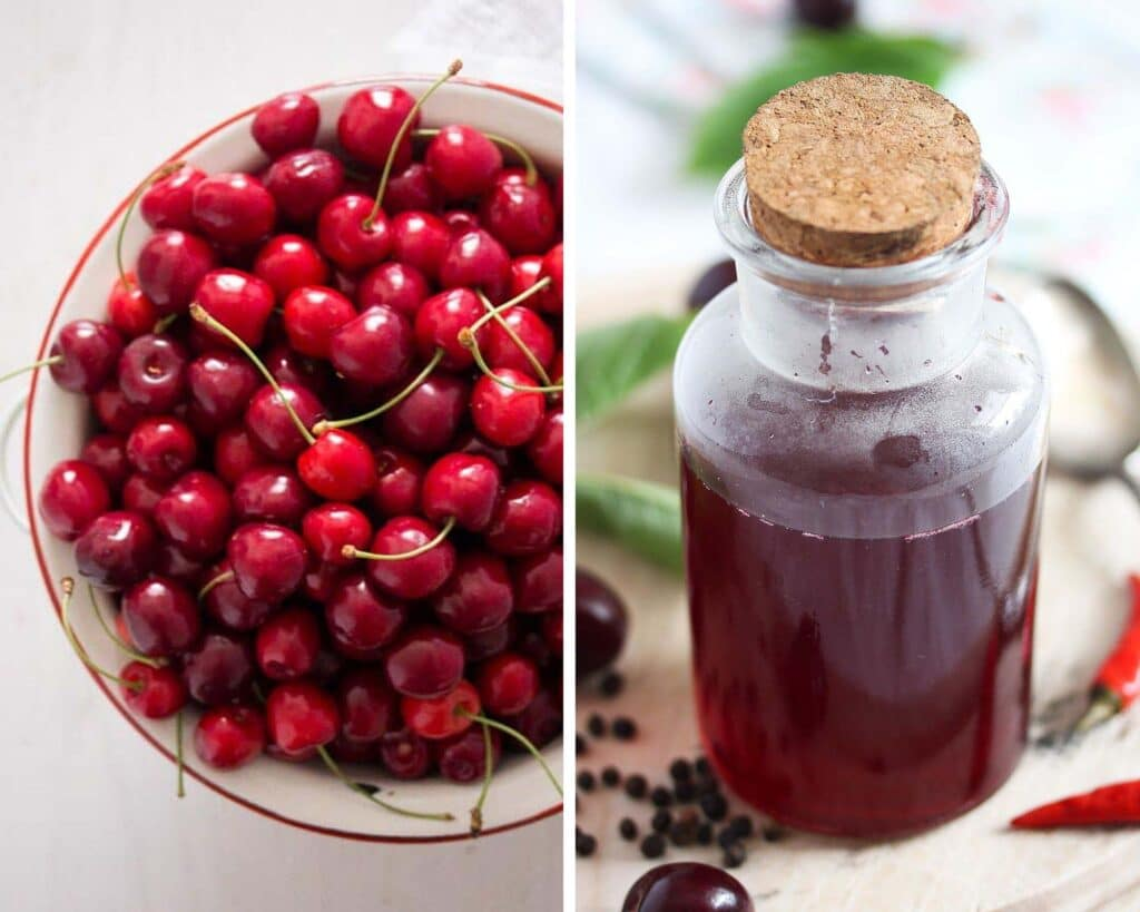 bowl of sweet cherries and a small bottle