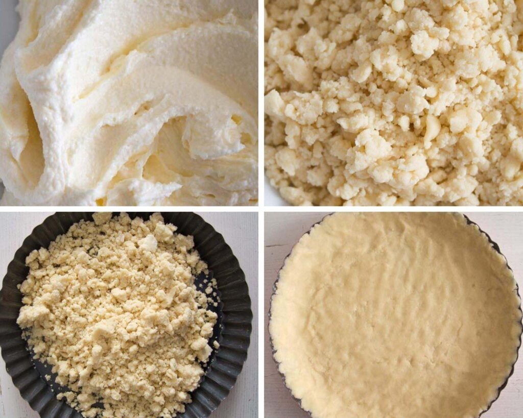 mix butter and sugar, add flour and make crumbles