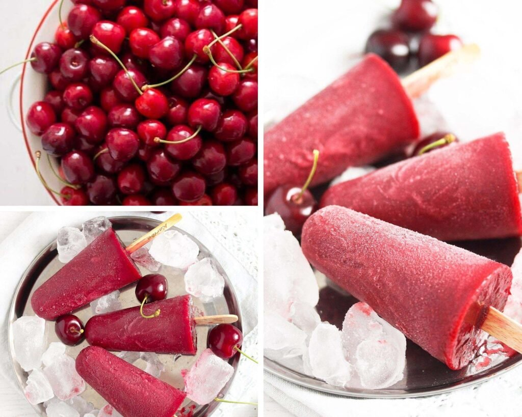 bowl of fresh cherries and ice pops on a platter