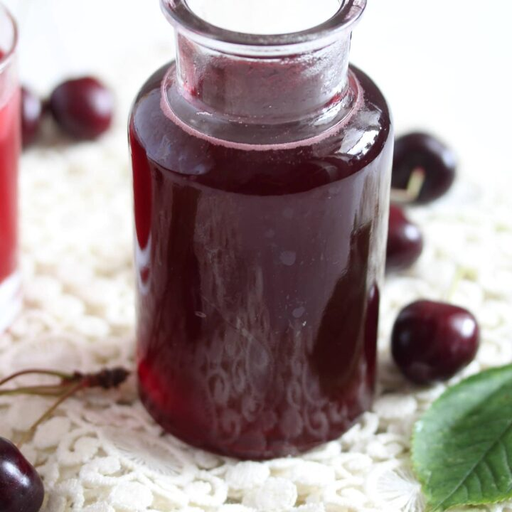 homemade syrup with cherries