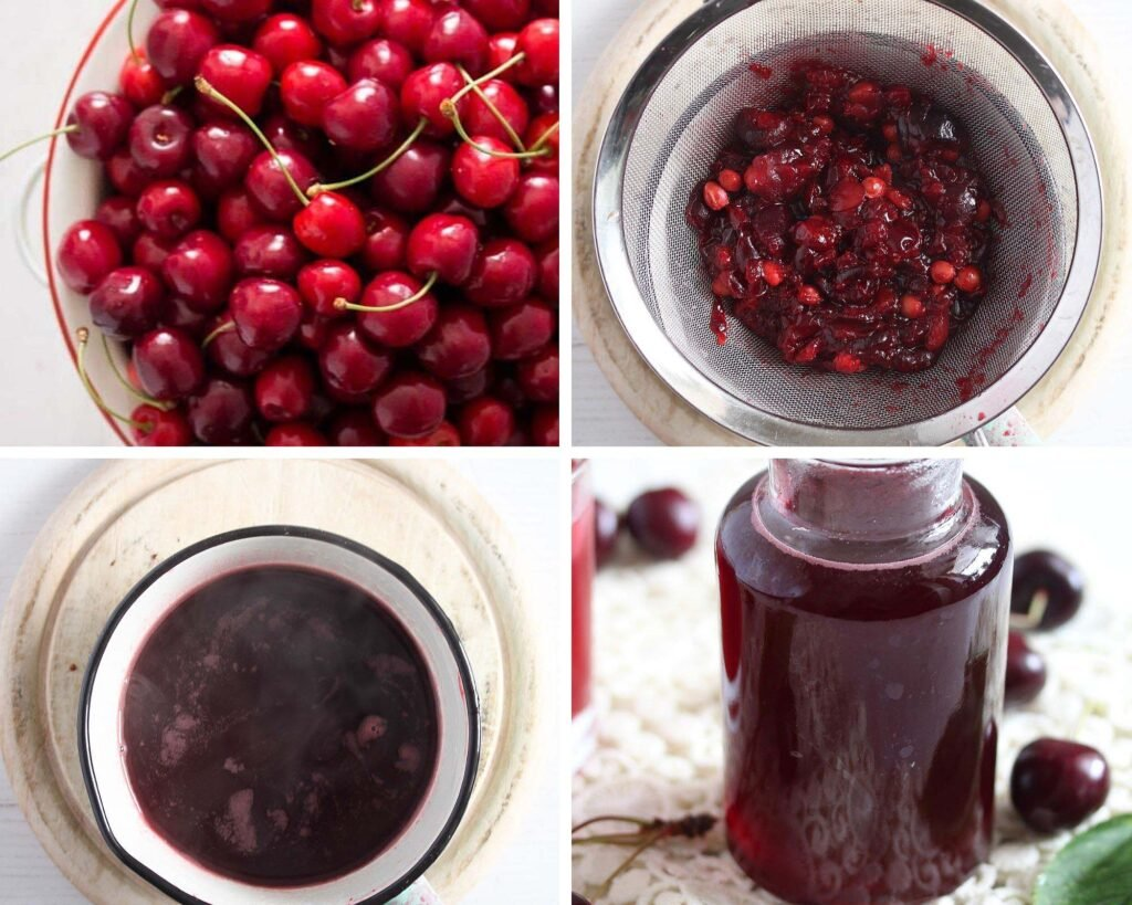straining cooked cherries through a sieve to remove pits