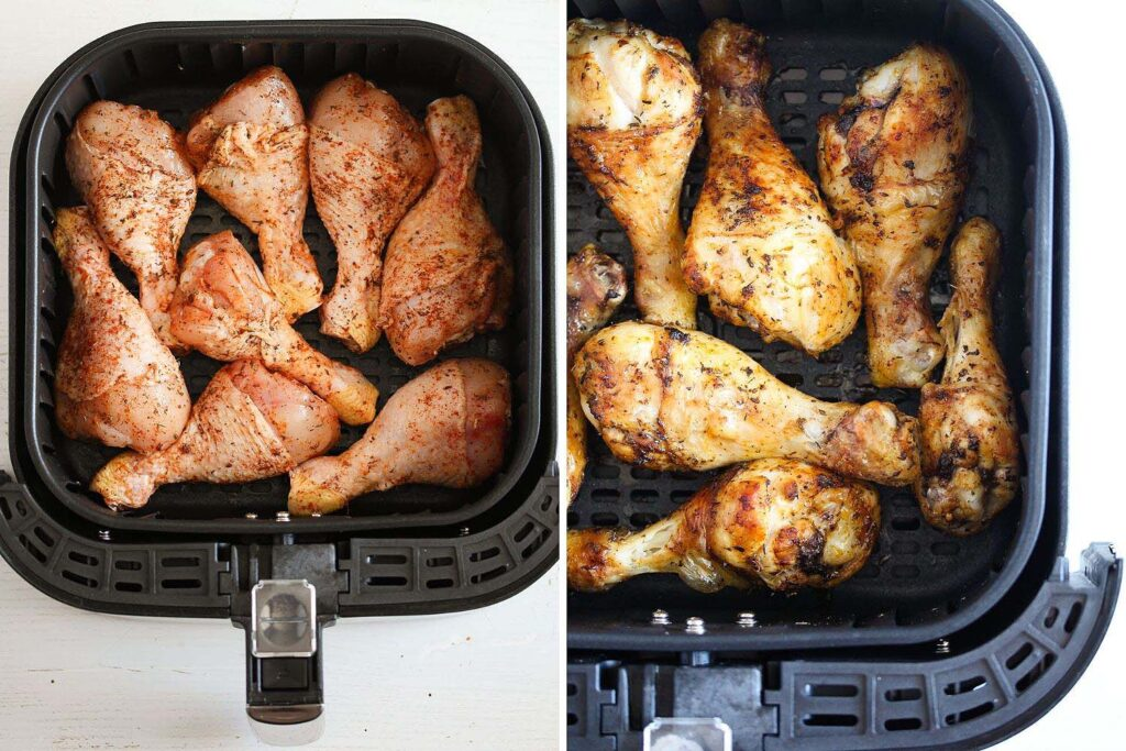 chicken legs in the basket of an air fryer before and after cooking