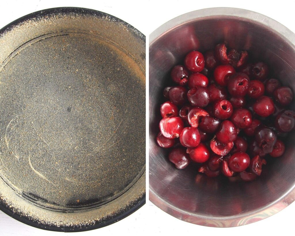 prepared springform for baking and stoned cherries in a bowl