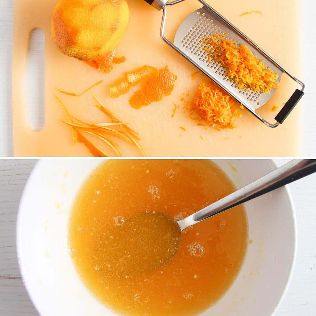 zesting oranges on a cutting board and bowl with orange drizzle