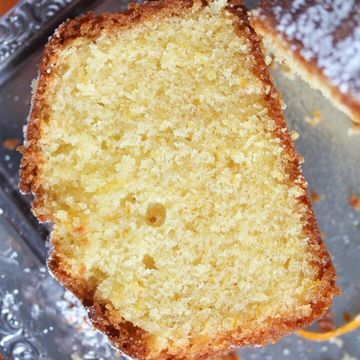 slice of moist loaf cake