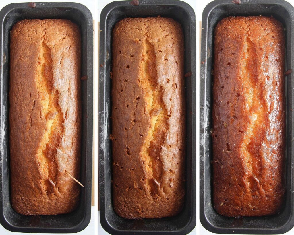 pricking a loaf cake in a tin with a toothpick and drizzling