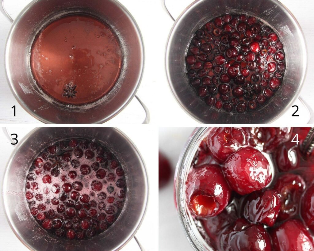 liquid being cooked for preserving cherries