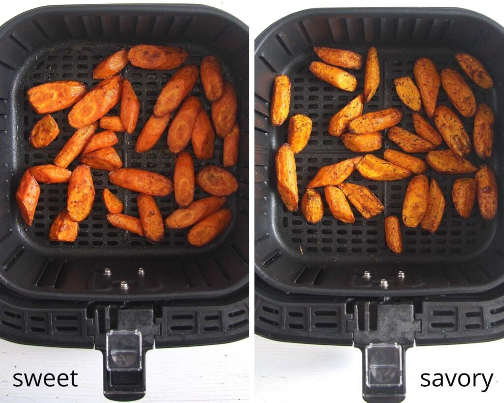 sweet and savory spiced carrot pieces in the basket of an air fryer