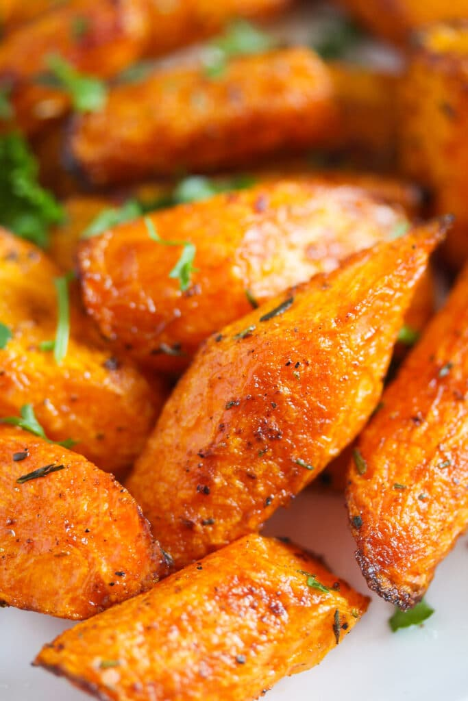 air fryer carrots sprinkled with parsley
