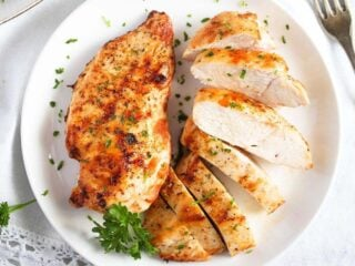 frozen chicken breast in the air fryer after cooking