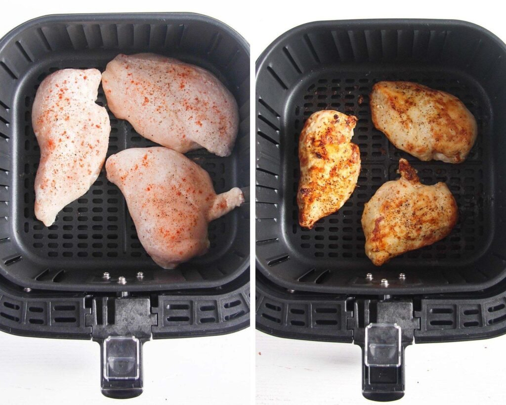 raw and cooked chicken in an air fryer