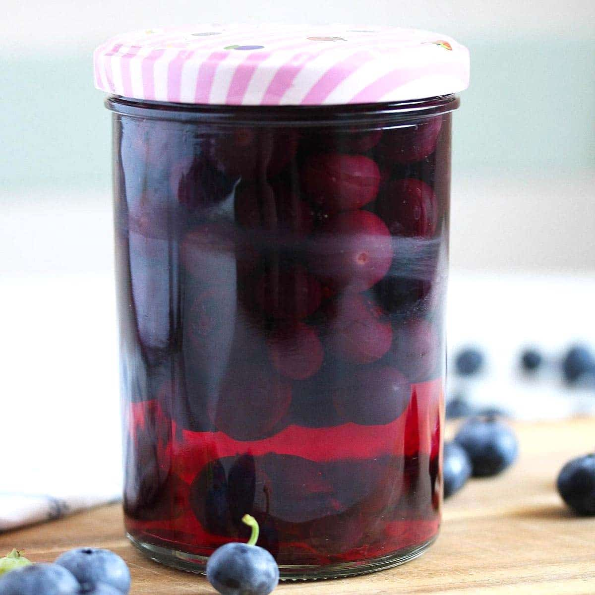 preserved blueberries in a jar