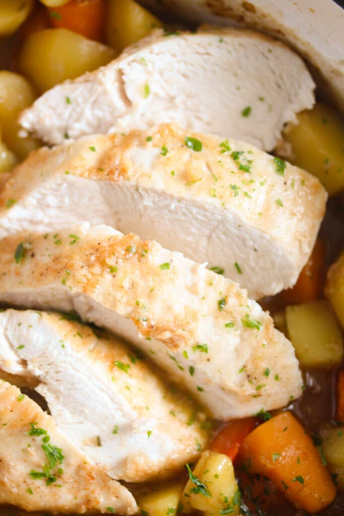 close up sliced chicken breast