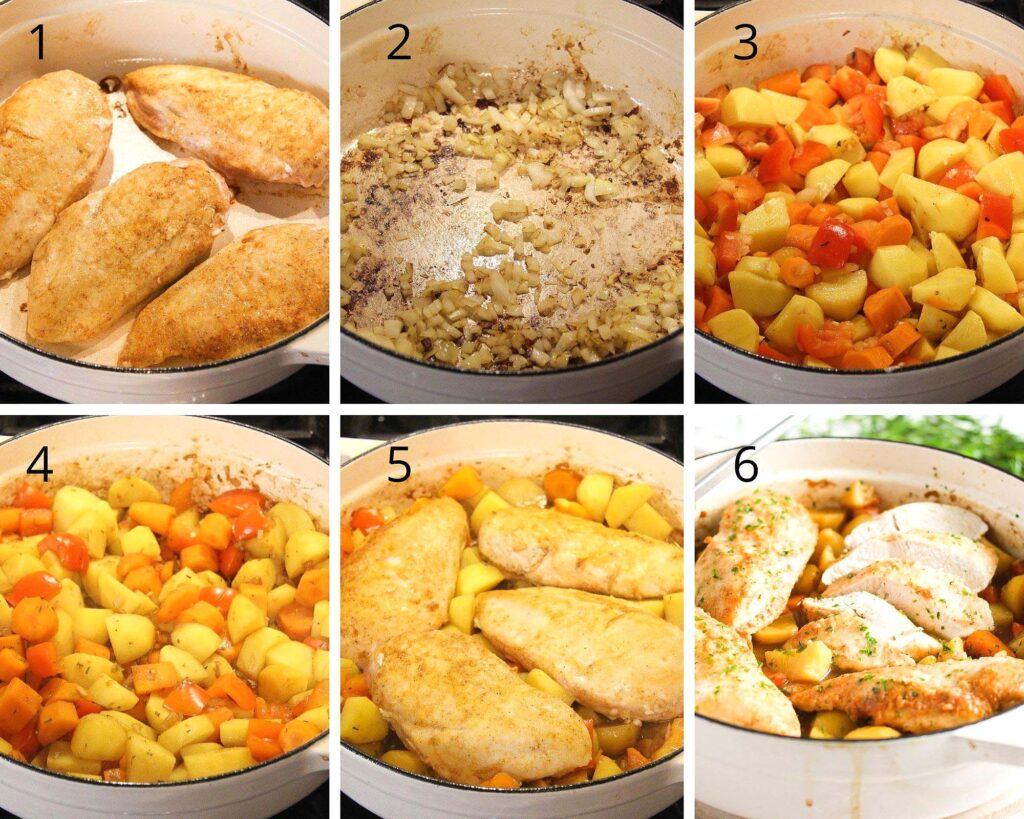 Dutch Oven Chicken Breast (with Vegetables and Potatoes)
