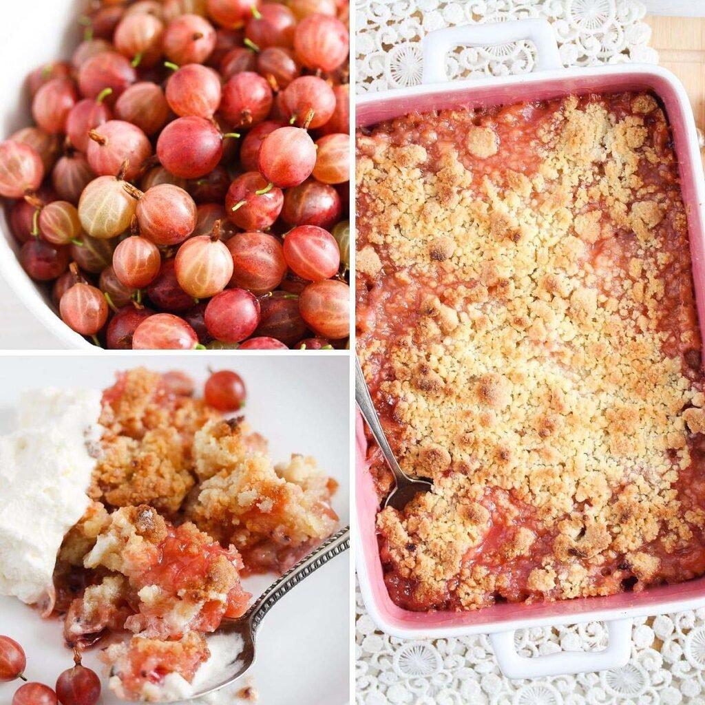 fresh gooseberries baked into a dessert