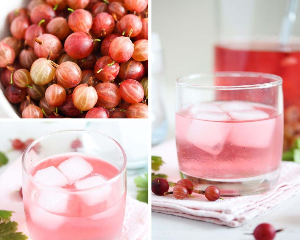 fresh gooseberries in a bowl and a glass of gin