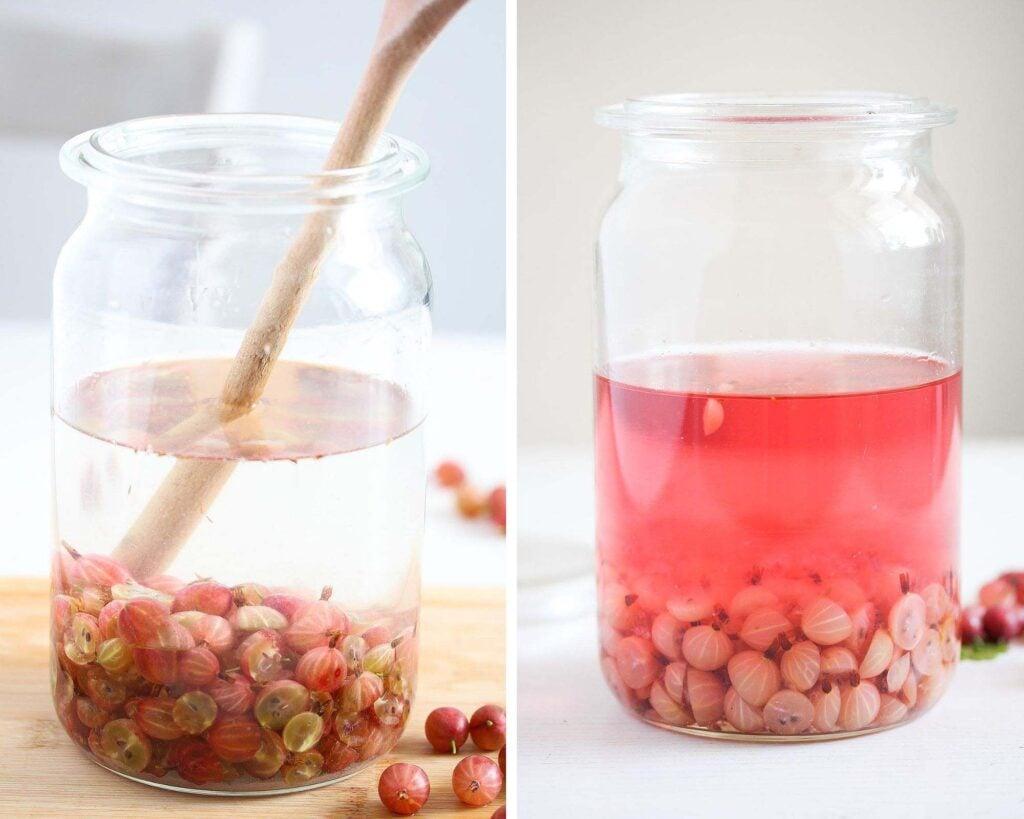 steeped gooseberries in a large jar