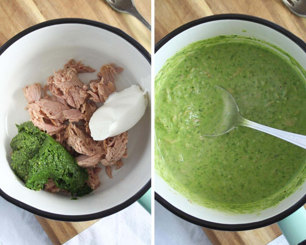 canned tuna, pesto, cream cheese in a saucepan and the resulting sauce