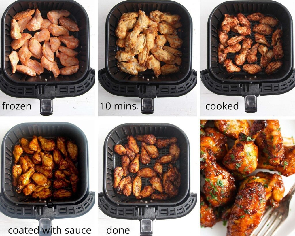 all the stages of cooking frozen chicken wings in an air fryer