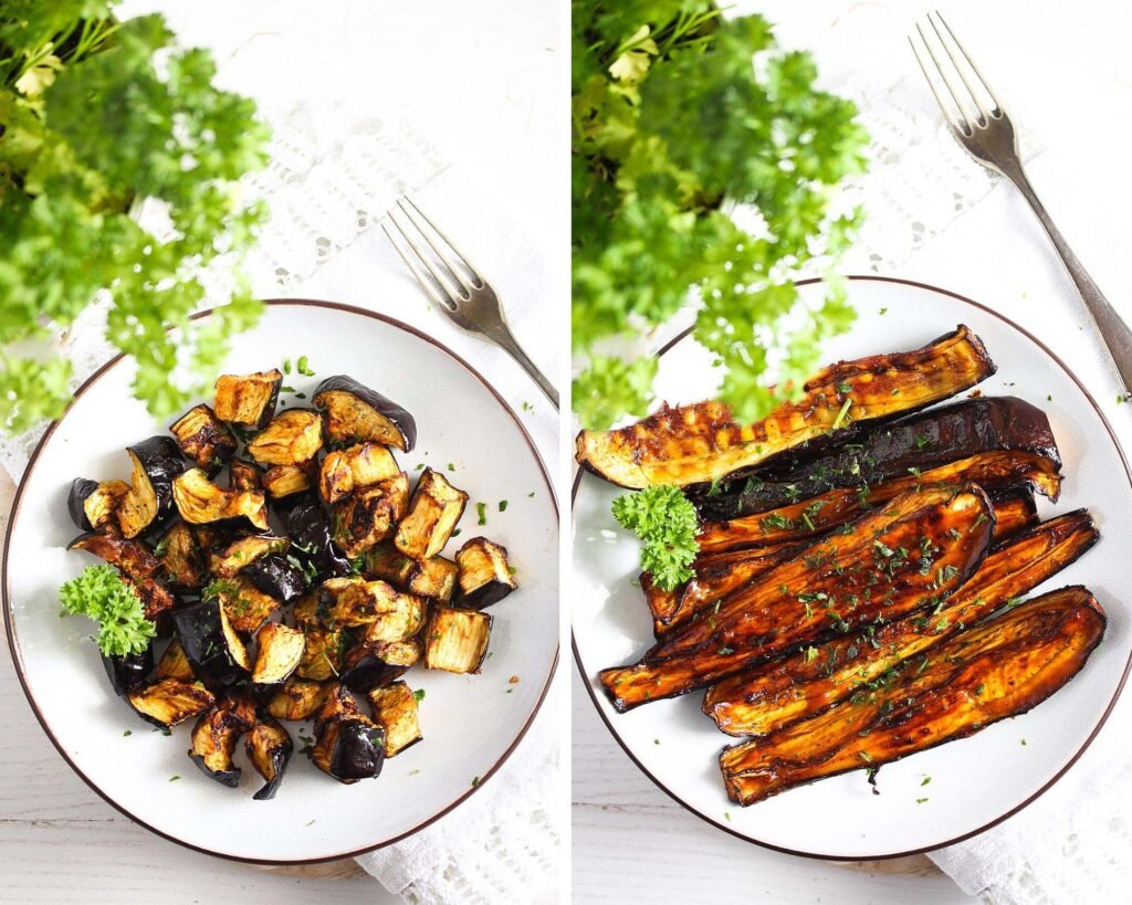 cubed or sliced eggplants cooked in an air fryer