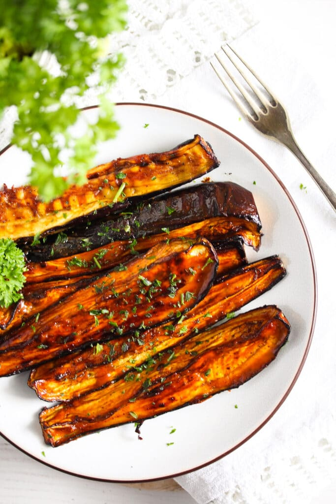 shiny eggplant slices glazed with honey and soy sauce