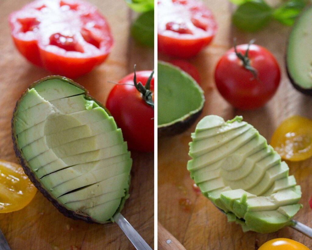 slicing avocado in the shell and removing flesh with a spoon
