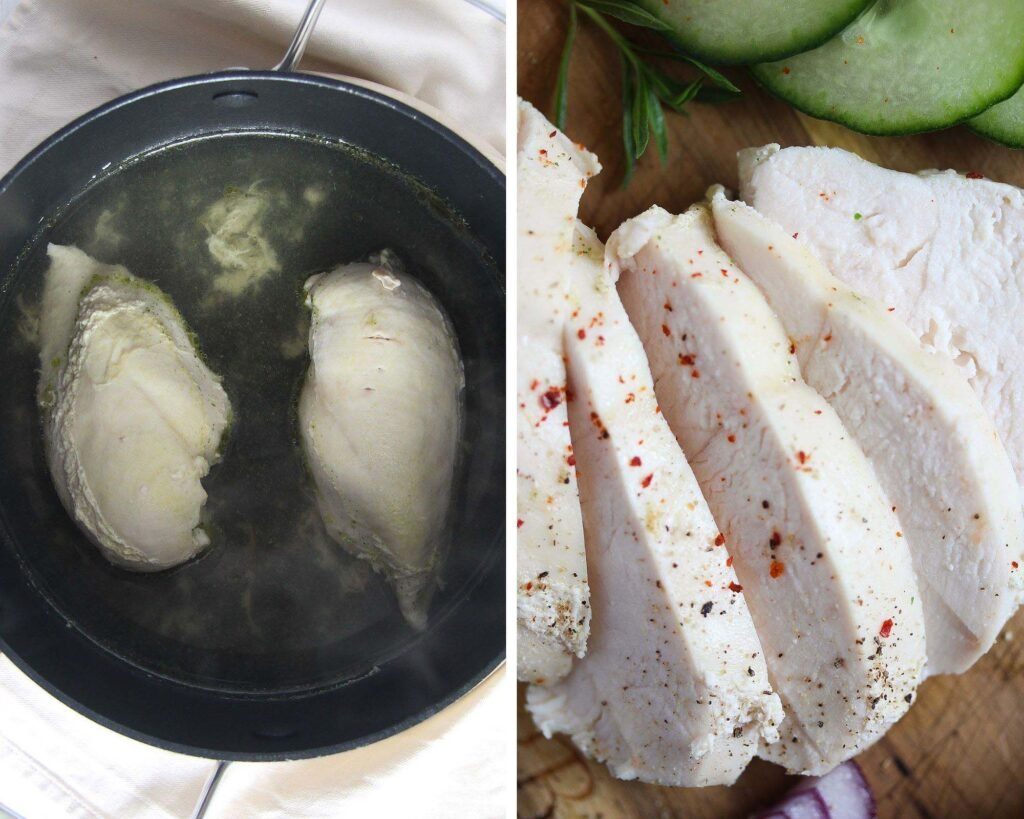 poaching chicken breast in a black pan