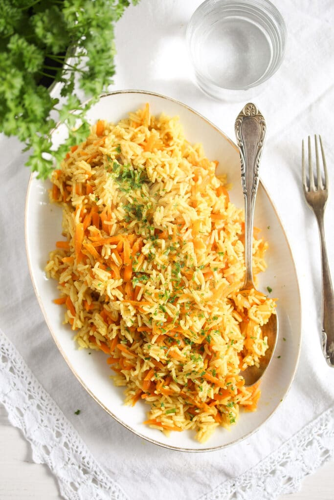 fluffy rice curry side dish served with parsley