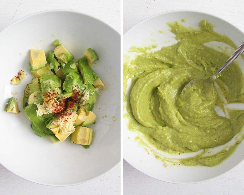 chopped avocado, garlic and chili and mashed avocado sauce in a bowl
