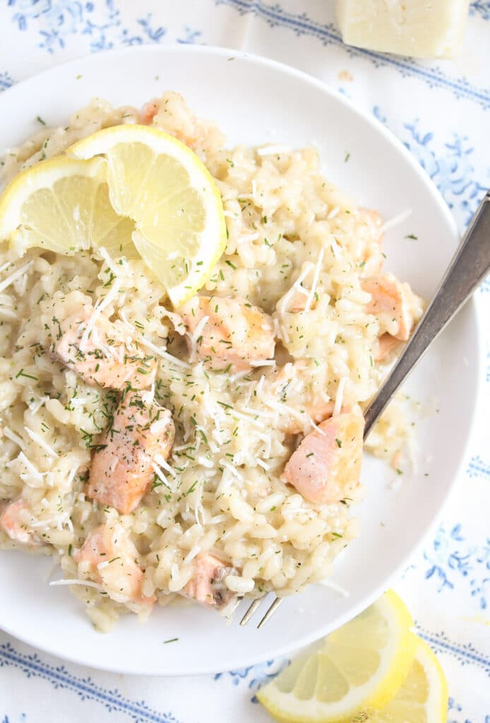 risotto with salmon and parmesan seen from above