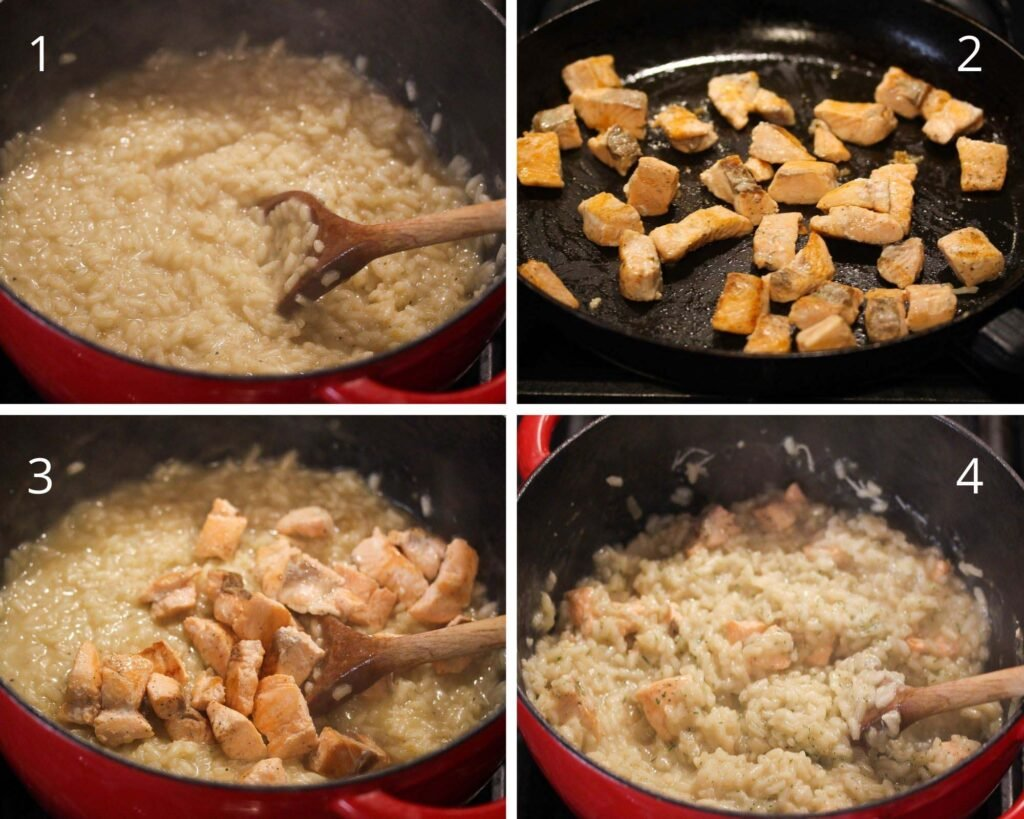 cooking salmon pieces in a pan and adding to rice