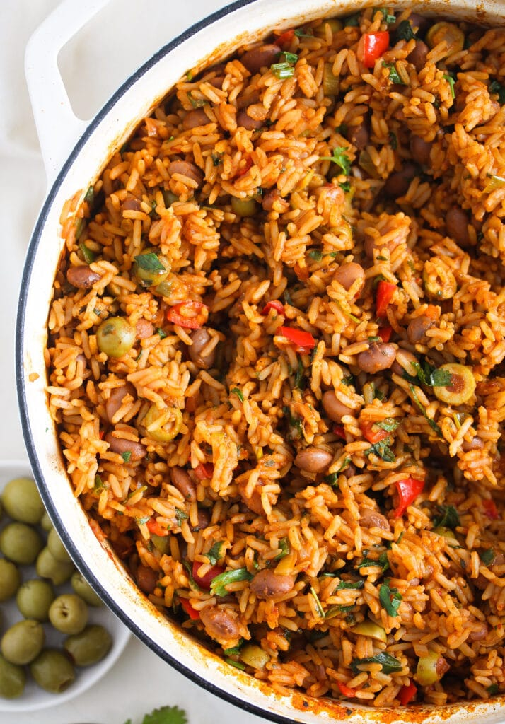 mexican rice and beans in a large wide pot
