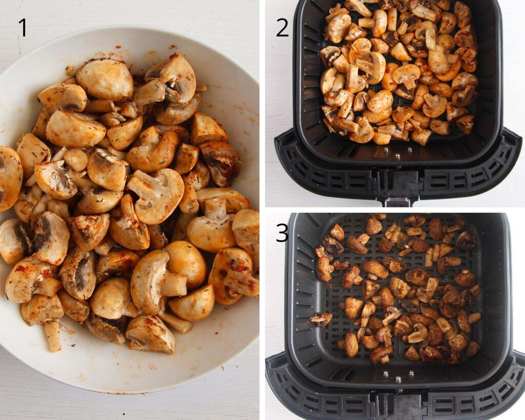 seasoned raw mushrooms in the basket of an air fryer before and after cooking
