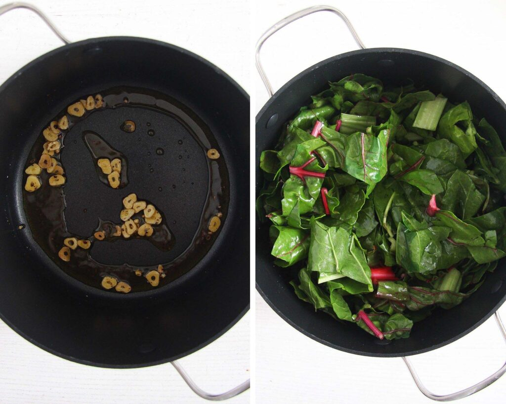 frying garlic in a pan and adding chard to steam
