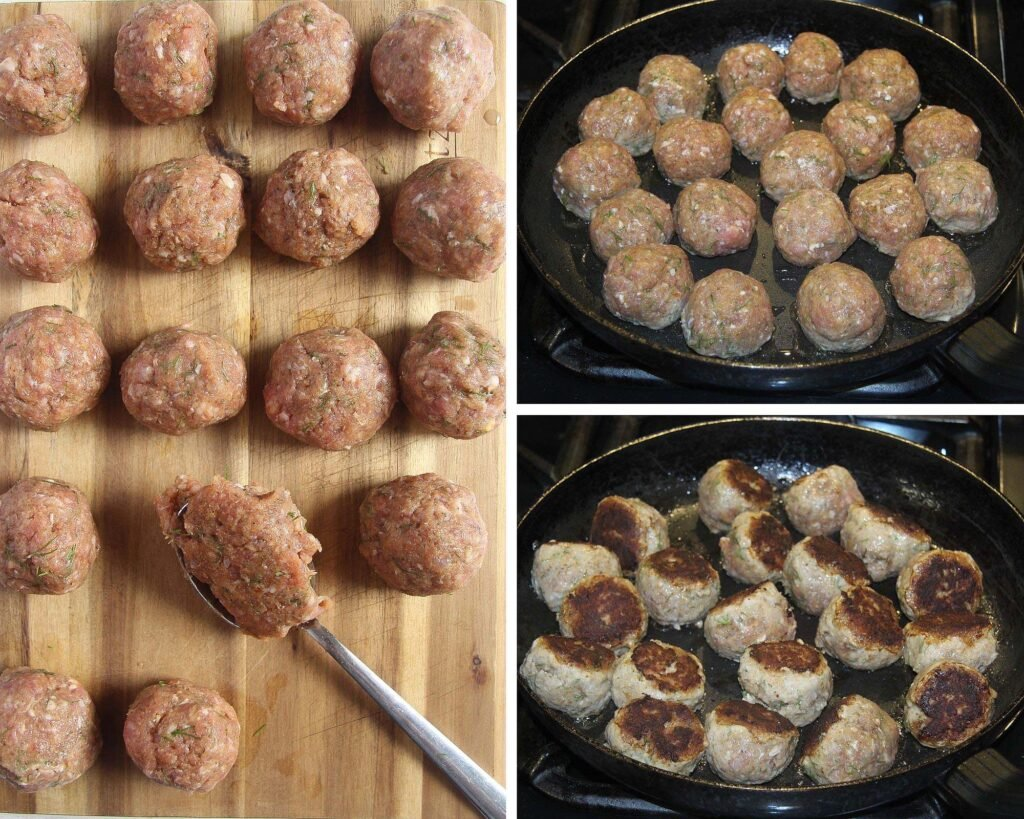 forming meatballs and frying them in a non stick pan