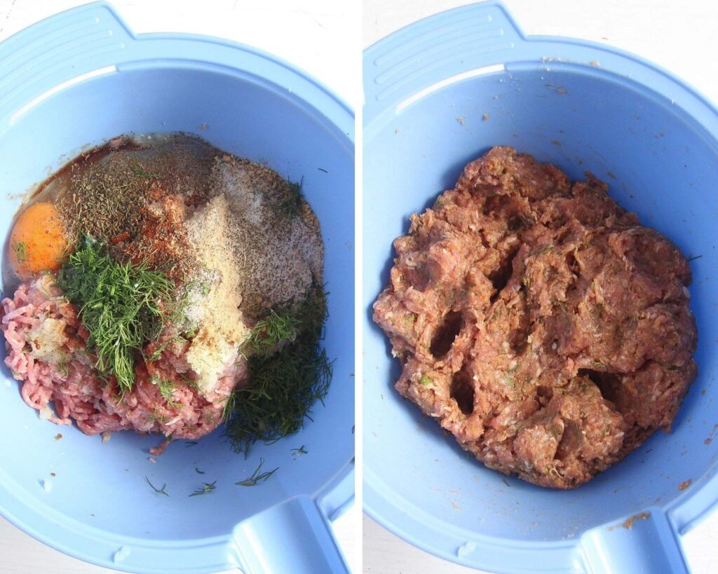 mix ground meat, dill, eggs, breadcrumbs in a blue bowl for meatballs