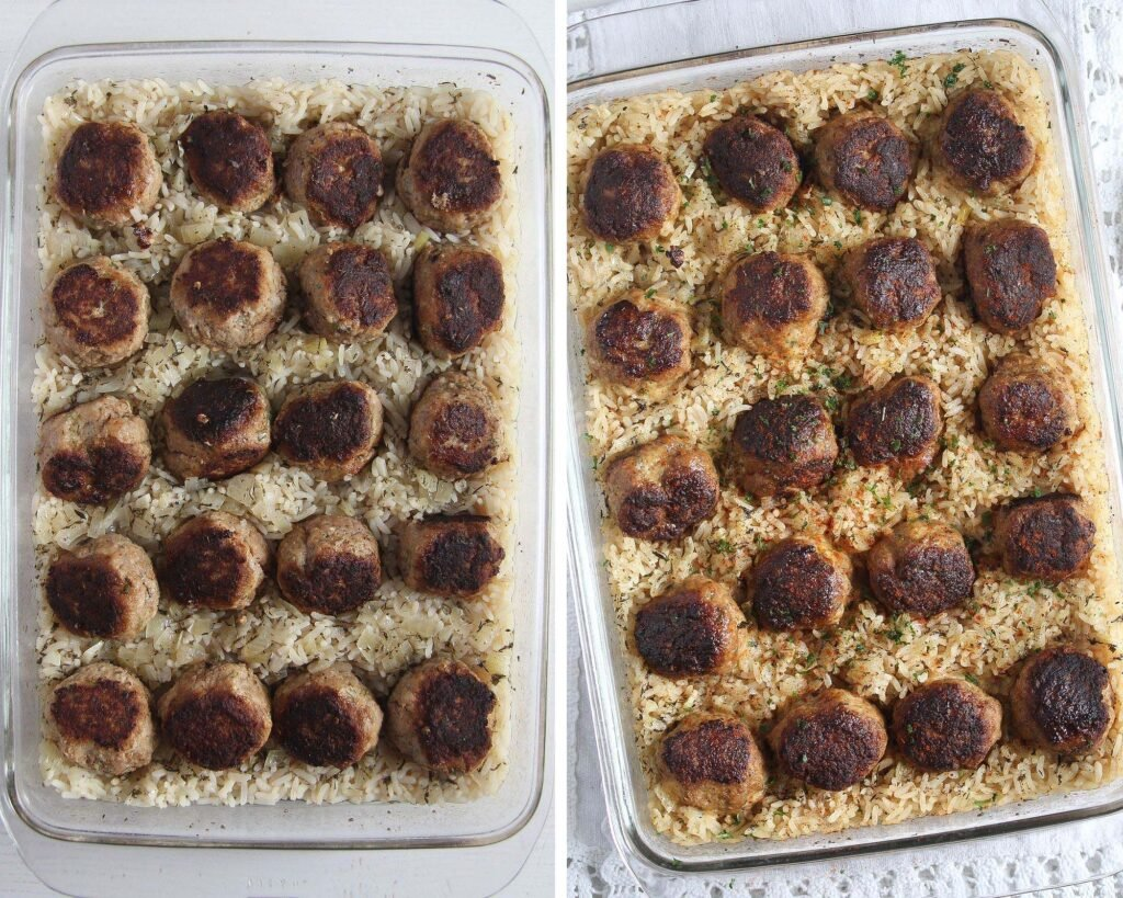 meatballs arranged on rice before and after baking