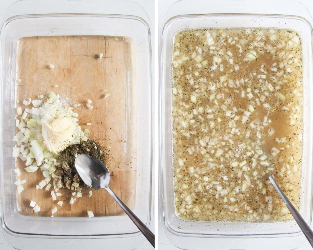 mixing butter, onions, stock and rice in a glass casserole dish