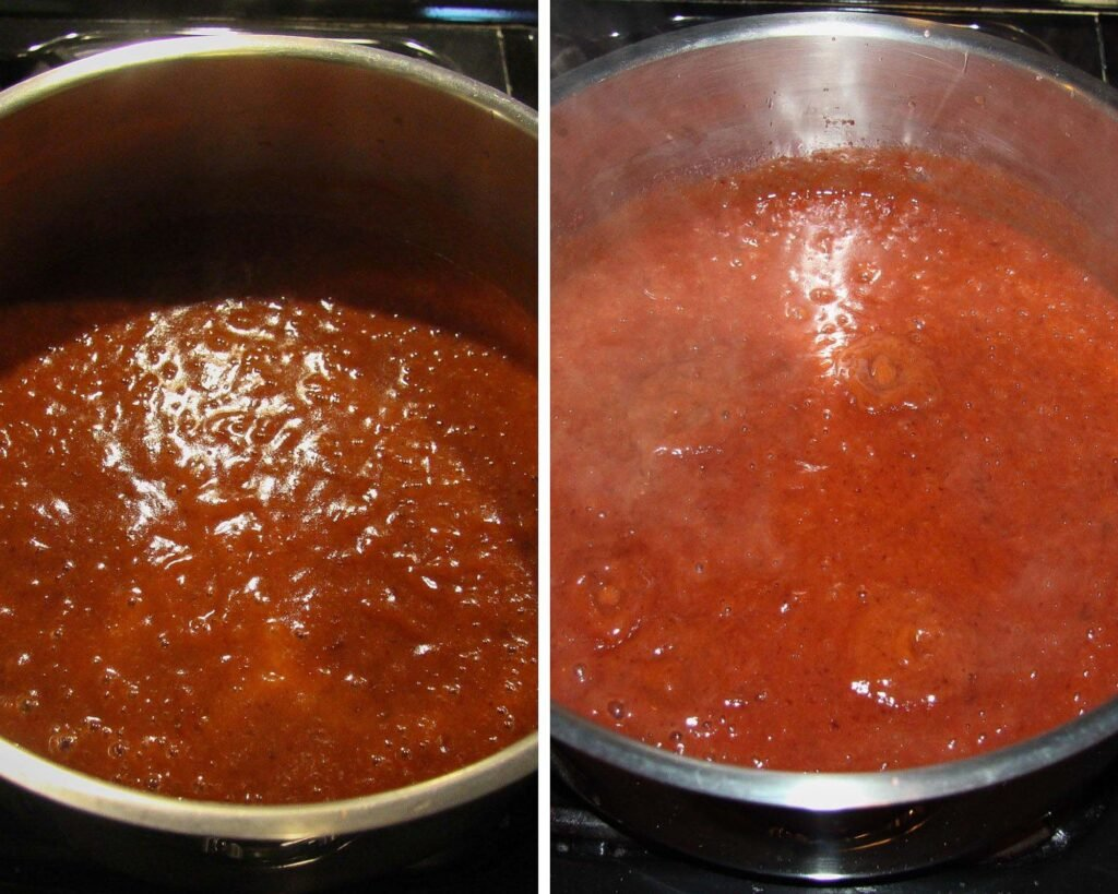 plum butter cooking in a large pot