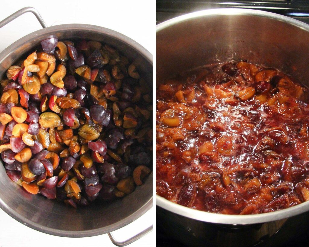 chopped and cooked plums in a large pot