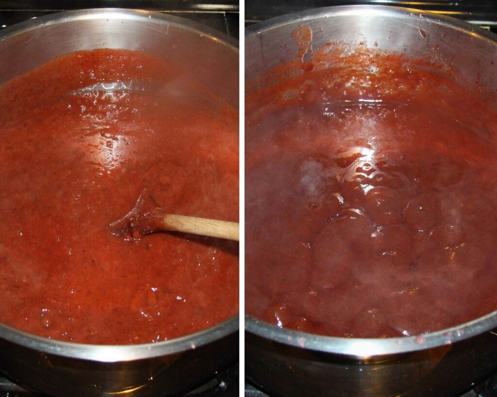 mixing jam in a large wide pot