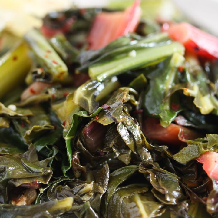 sauteed chard with olive oil and garlic close up