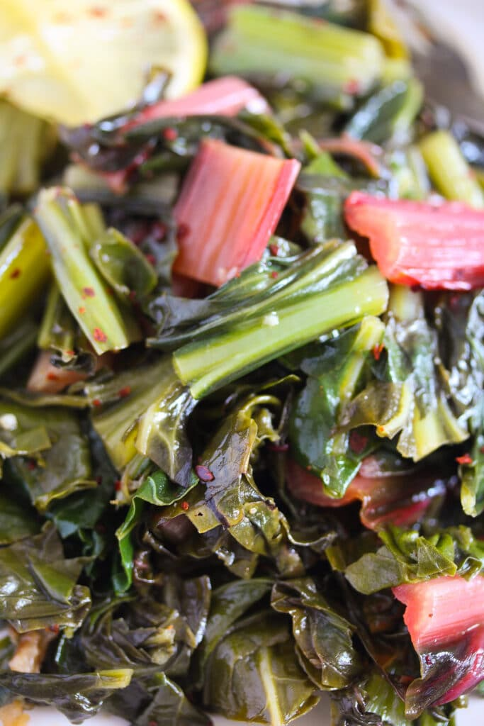 swiss chard with red stems on a plate