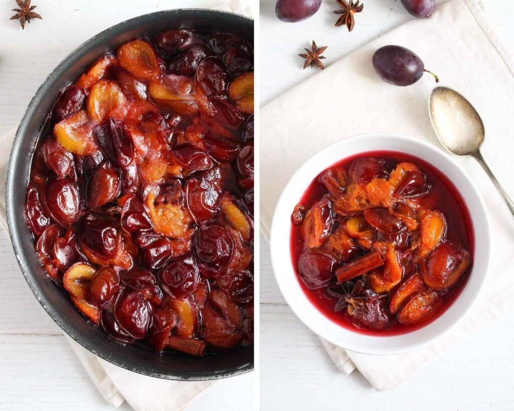 pan with poached fruit