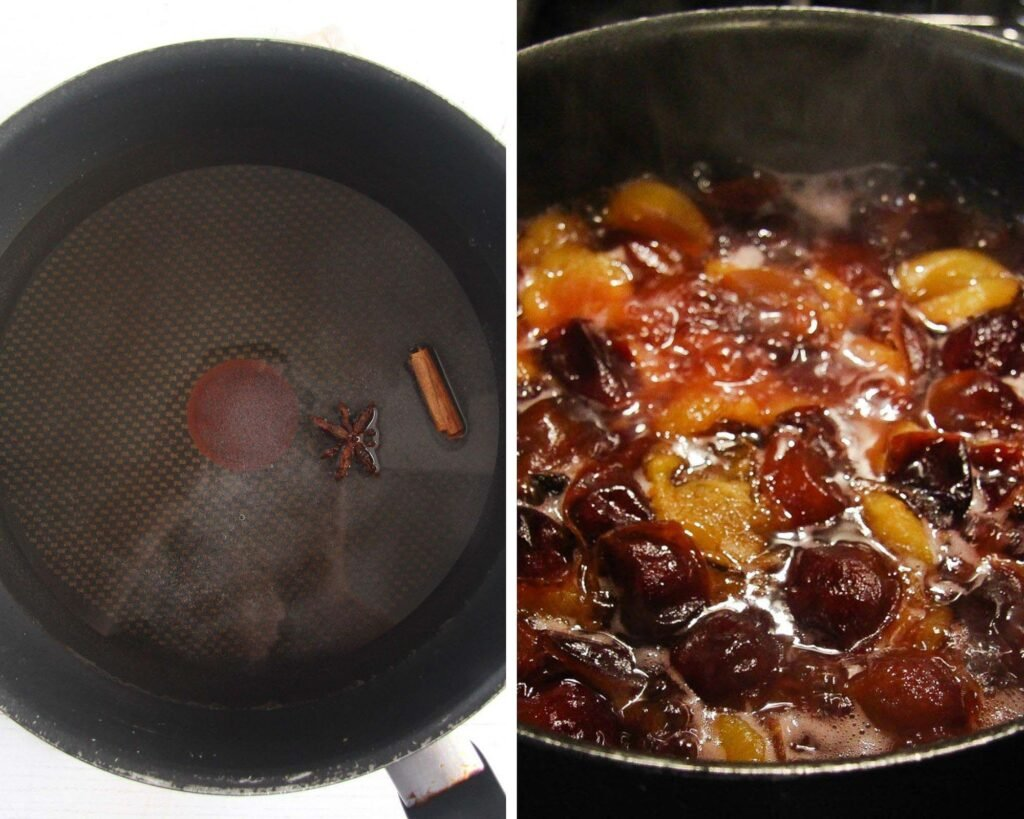 saucepan with water, cinnamon and halved plums