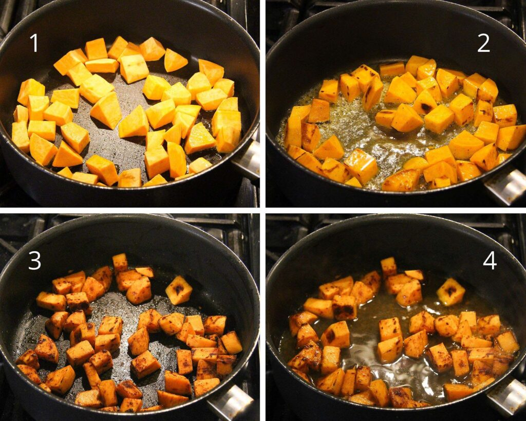 sauteing sweet potato cubes in a cast-iron skillet