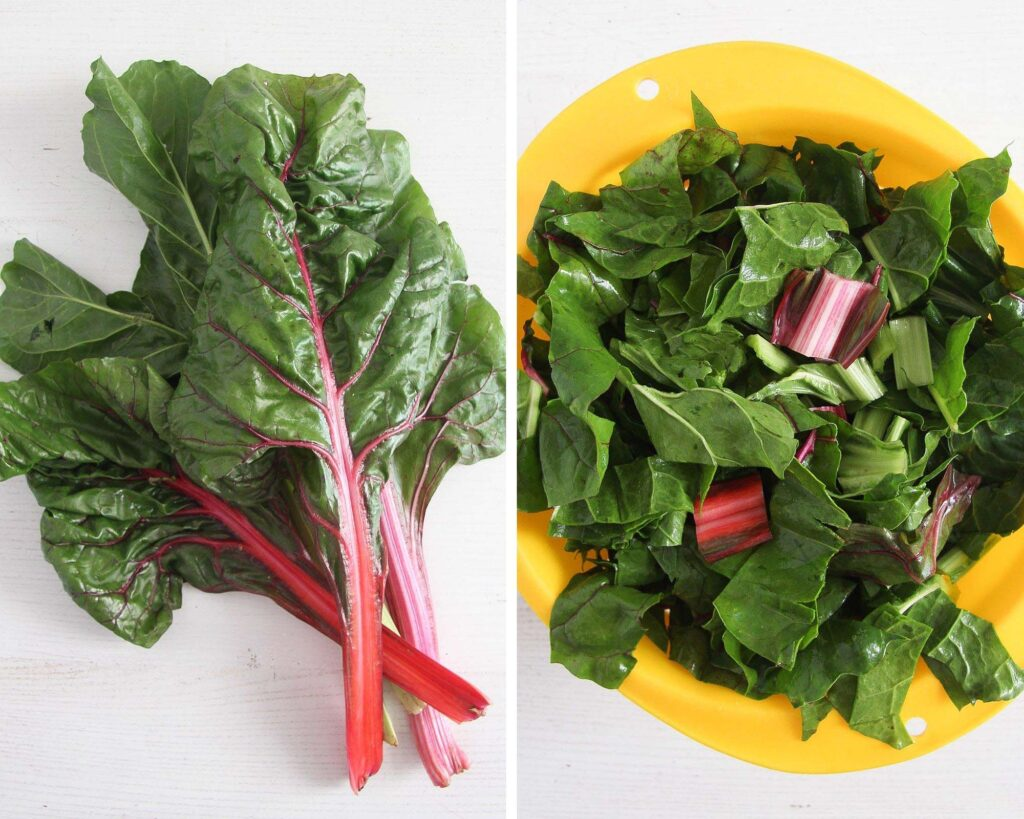 chard leaves and chopped greens in a yellow colander