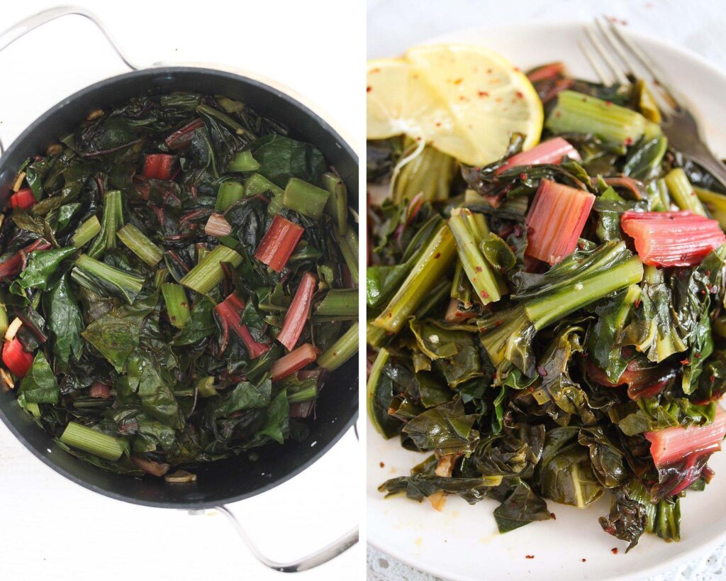 cooked chard in a black pot and on a plate